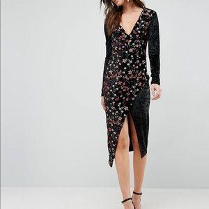 NWT Club L velvet floral long sleeve midi dress
